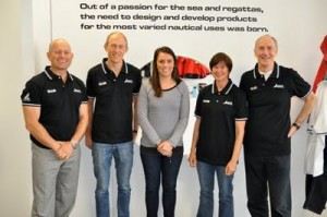 Emma Hendy (centre) with Yachting New Zealand reps, from left to right, Jez Fanstone, Tom Ashley, Lesley Egnot, and former CEO Des Brennan