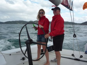 Father and daughter (Jim and Georgia Farmer) returning from Roberton Is. on day 2 of Bay of Islands Regatta