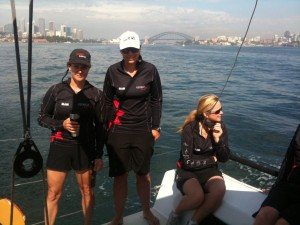 Georgia heads out for first race of Rolex Trophy - left to right, Rhonda McCrea, Emma Hendy, Jackie Hendy